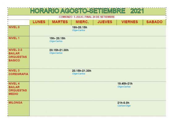 horario de agosto y septiembre