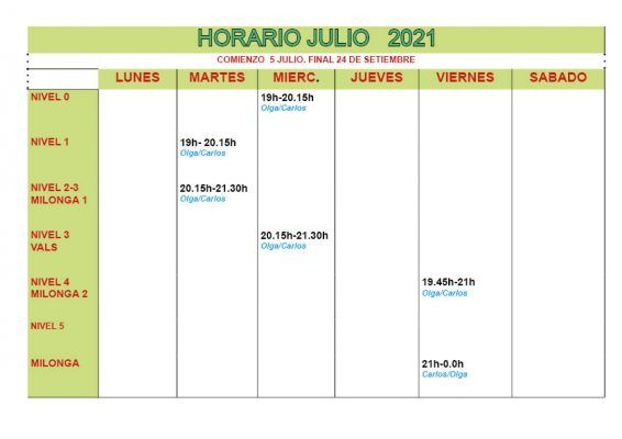 horario julio